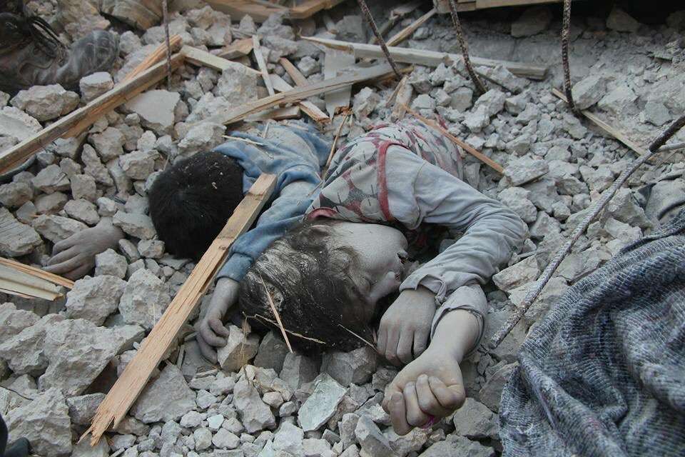 April 18th, 2017. Two children's corpses found in Ma'aret Hurmah, Idlib, after an airstrike.