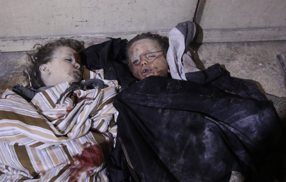 Children murdered by bombings in Syria.