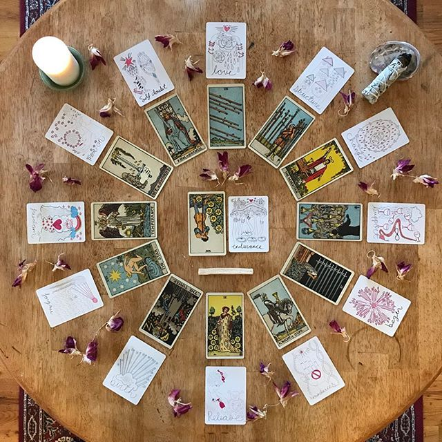 ✨December Tarotscopes are here!✨ . DECEMBER OVERVIEW: Seven of Pentacles Rx + Endurance . This month's tarotscopes take the shape of reflections and lessons. As 2018 comes to a close, our cards ask us to take stock of the year that has passed and to think about the seeds we have planted. The Seven of Pentacles when it is reversed (upside down) reveals that we may be feeling some anxiety or doubt about what we have accomplished this year. We may have fears that our hopes and dreams will not come to fruition or we may be unsure as to whether what we have done is really worth anything. We might be reflecting on whether we have contributed positively to our communities, our families, our places of work. The lesson that comes with these reflections is the oracle card Endurance. The truth is that our work is not done, just because the year is ending. We may take a moment to pause and to rest, but this isn't the end of the story. Allow yourself to feel whatever comes up for you as the year ends, but know that you have so much more ahead of you. Just because you didn't get a certain project done before the end of the year or you didn't find the person of your dreams doesn't mean that 2018 was not a success. There are many ways to measure success and growth that aren't always tangible and don't always match up to your vision of how things should be. As you reflect on the year gone by, remember to celebrate all the ways small and big that you have grown, whatever that means for you. You have accomplished more than you may realize. And there is so much more to come in the new year! . . Head over to @spiritguidesmag and click the link in their bio to read about the lesson for your sign as we head into the new year. ✨ . 🌈Tarot deck used: The Pamela Colman Smith Commemorative Set by @usgamesinc . 🌿Oracle deck: Vessel Oracle Deck by @spirit.speak . . . . #tarot #tarotreading #tarotreader #tarotspread #tarotreaders #tarotreadersofinstagram #discernment #divination #ritual #guidance #dailytarot #tarotlove #tarotcommunity #tarotcards #spirit #tarotdecks #tarotdeck #tarotscopes #tarotscope #december2018 #newyears2019 #horoscope #monthlyhoroscopes