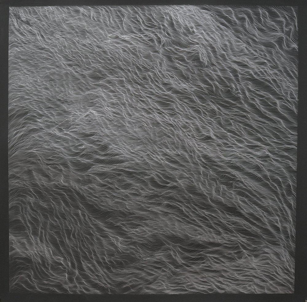 "Untitled (Dark Tidal I), 2018, 50"" x 50"" , silver ink on paper"
