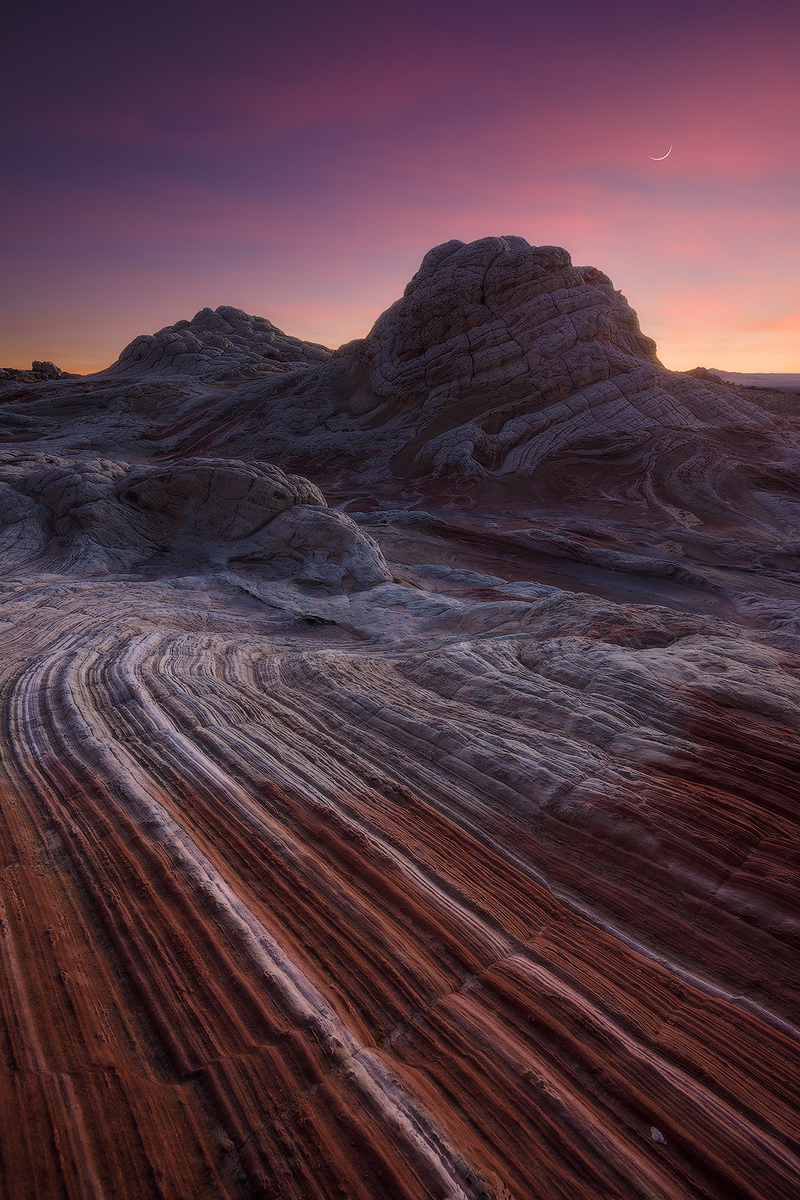 """Desert Striations"" -- the otherworldly geology and colors of White Pocket   Nikon D800e, Nikon 14-24 @ 14mm.  Four image blend for depth of field and to control dynamic range.  Moon = Nikon 70-200 f/4 @ 98mm.  Yes, the moon was very nearly in that exact spot."