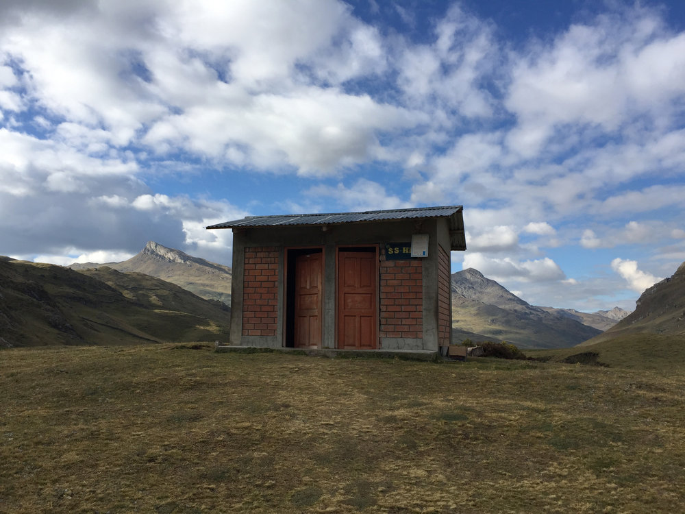 Camps along the Huayhuash Circuit have, amazingly enough, toilet blocks. More than half contain flush toilets