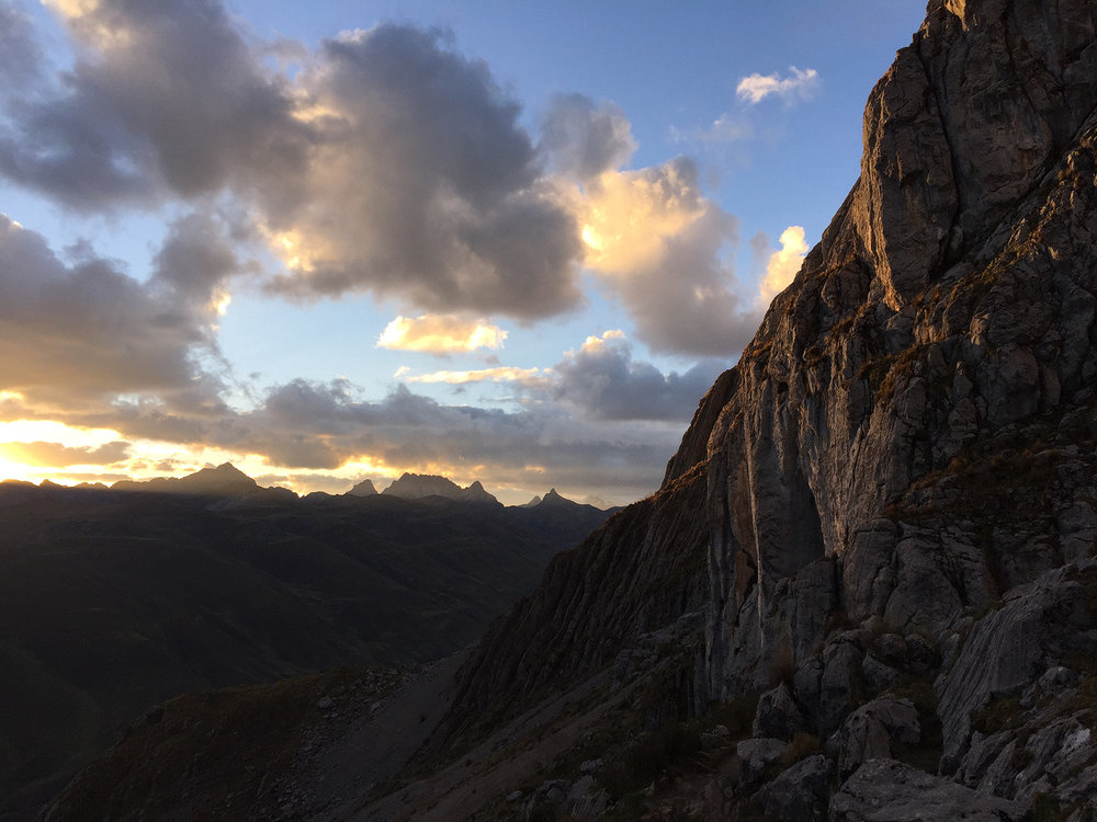 Sunset from near our first pass. I hiked up to photograph the setting sun working its magic on the high peaks of the Huayhuash, but I couldn't find an unobstructed view. Still amazing to be up there on my birthday.