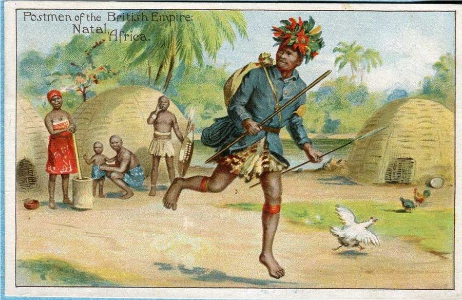 Natal Post runner depicted on one of a series of postcards: Postmen of the British Empire