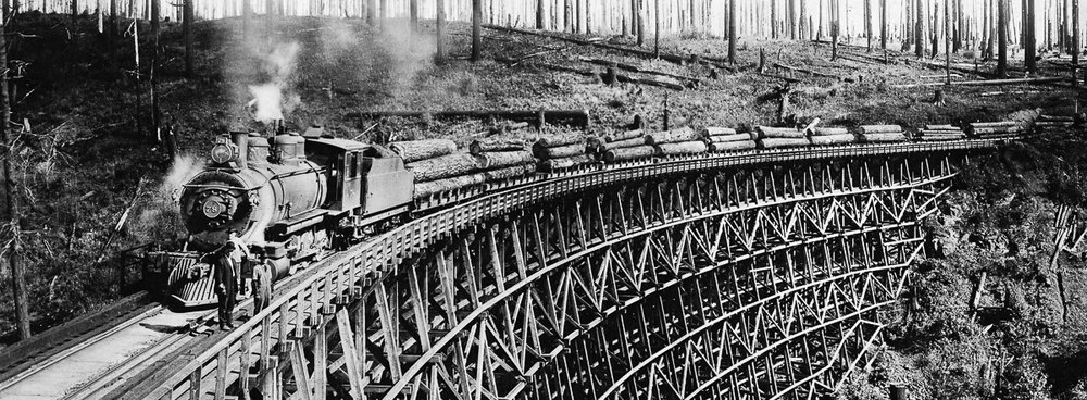 Train on One of the Myra Trestles   Circa 1915