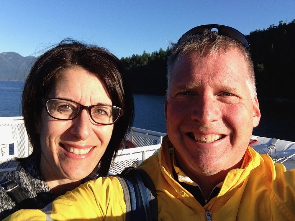 Gord and Jill Hotchkiss   On a Cycling Trip on BC's Sunshine Coast