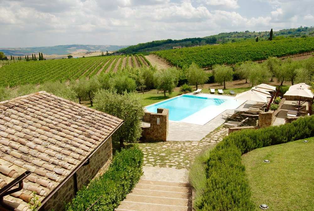 The beautiful estate of Canalicchio di Sopra in Montalcino, Italy.