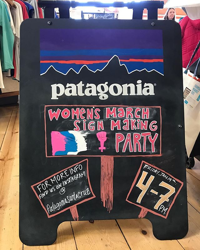 Hey friends, tomorrow is the women's march and our neighbors at @patagoniasantacruz are having a sign making party TONIGHT from 4-7pm. They'll have sign making supplies and lots of friendly faces united in a good cause. Come by @oasissantacruz before hand for Happy Hour starting at 2:30- we have new menu items and we're now offering our Burger and new Fried Chicken Sandwich during Happy Hour!