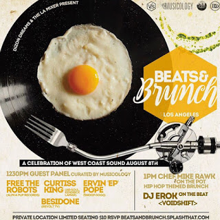 Black vinyl record with an over easy egg on top flyer