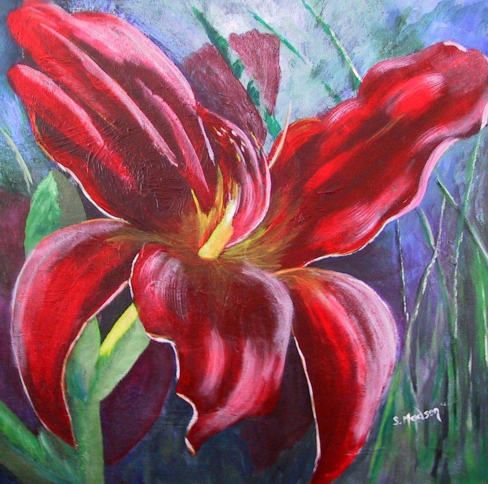 Lone lily, Acrylic on canvas © Shauna Madsen