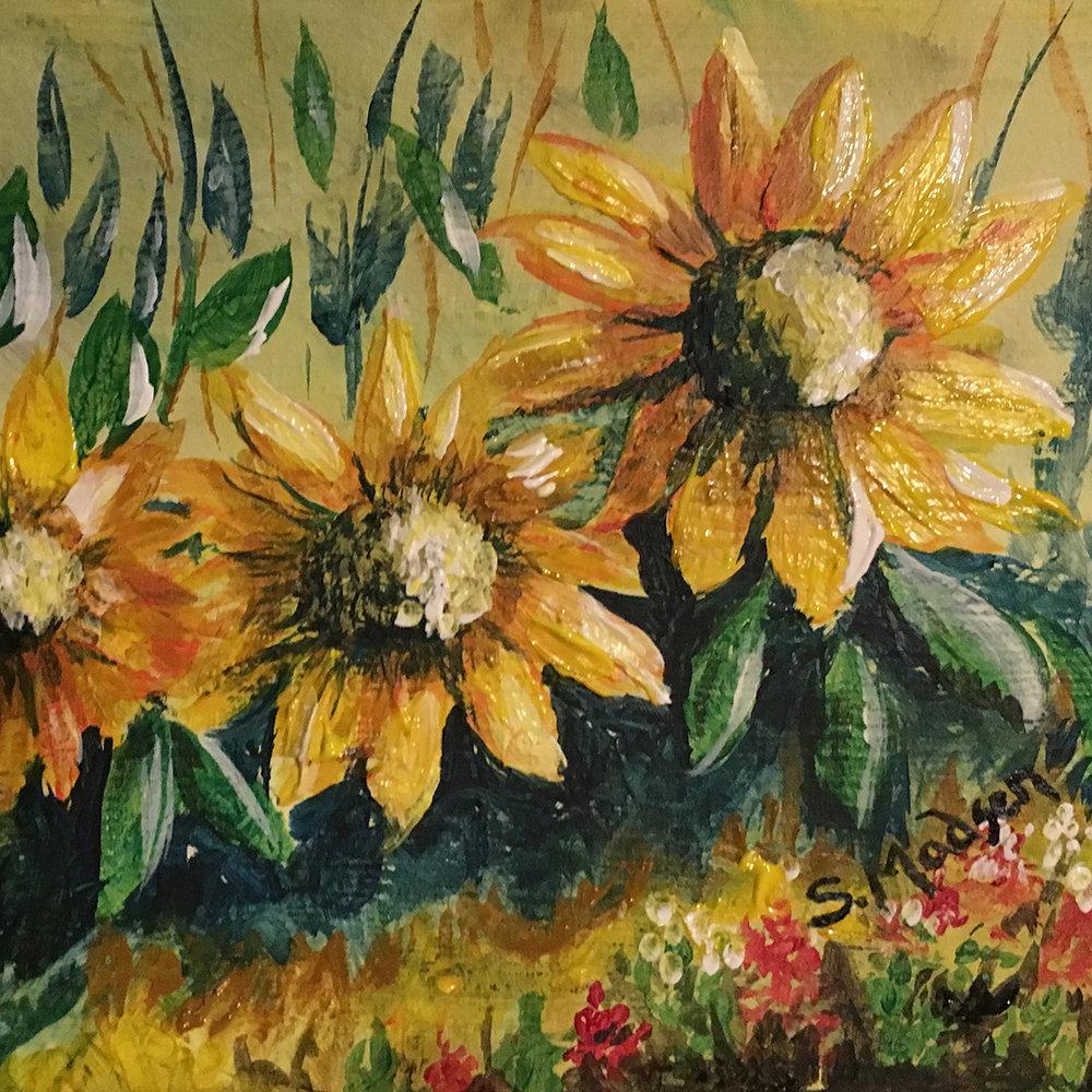 Sunflowers, acrylic on canvas © Shauna Madsen