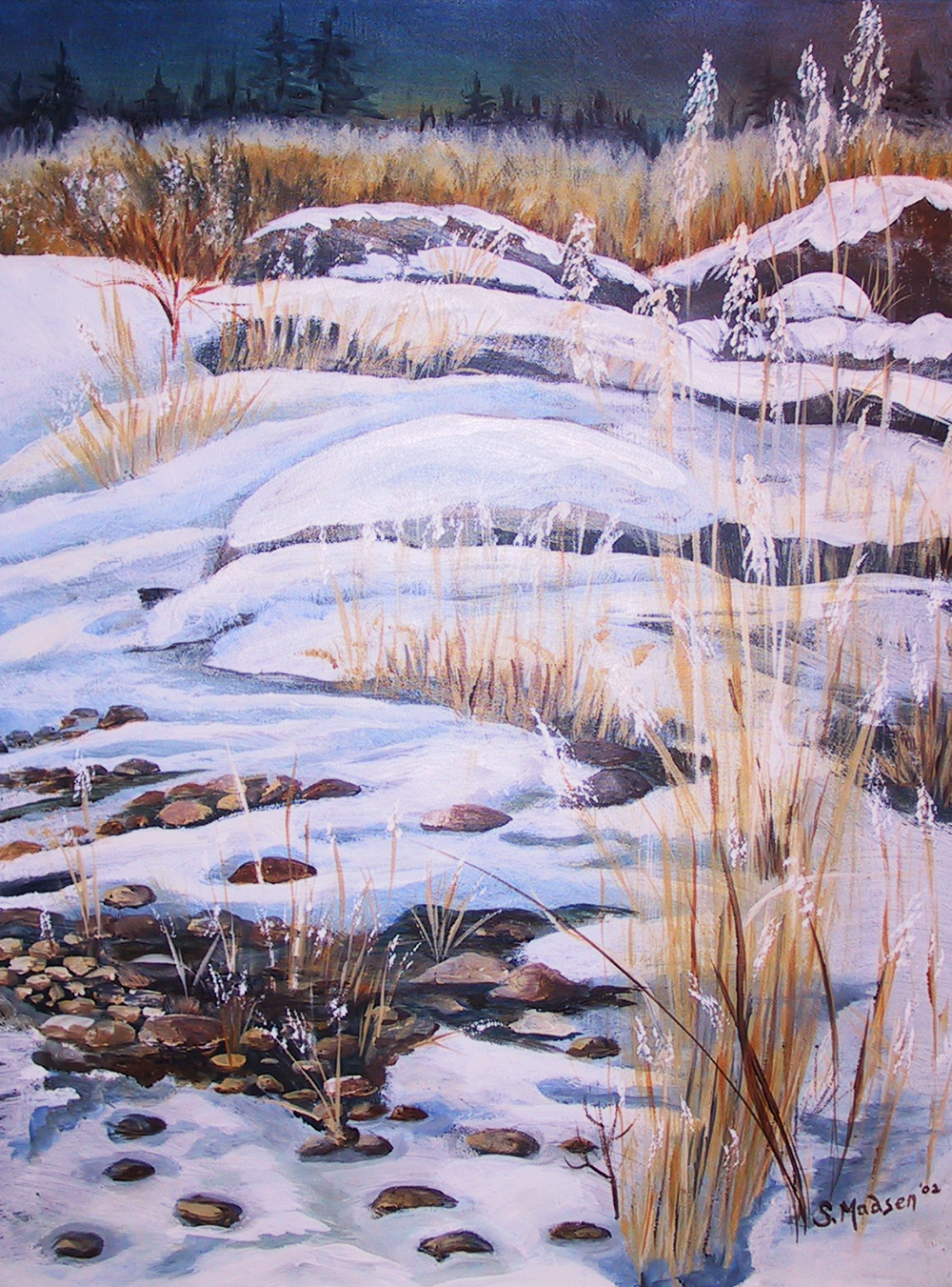 winter meadow, acrylic on canvas - private collection
