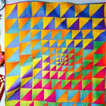 A modern, borderless quilt
