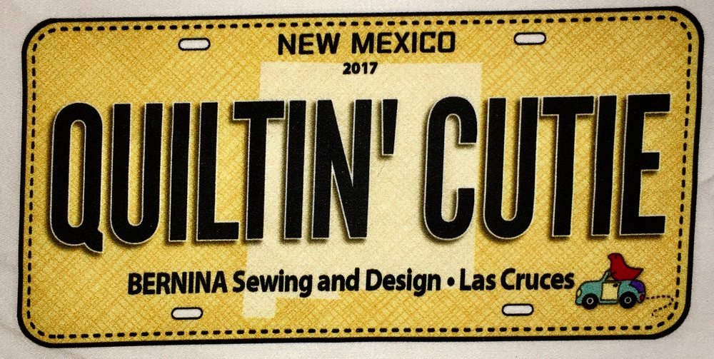 - Bernina Sewing & Design's one of a kind, unique, 2017 fabric license plate