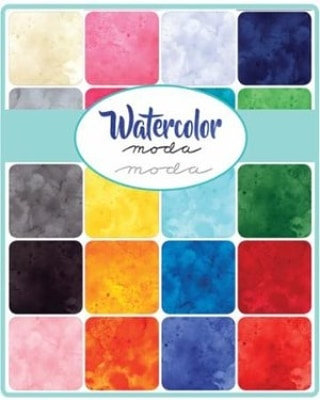 Vibrant colors, soft edges and beautiful shadings - These Watercolor solids by Moda give awash of texture in a blend of hues that are sure to add interest to any project. Stop by the store and see these beauties!  #modalove #modawatercolorfabric #quiltshop