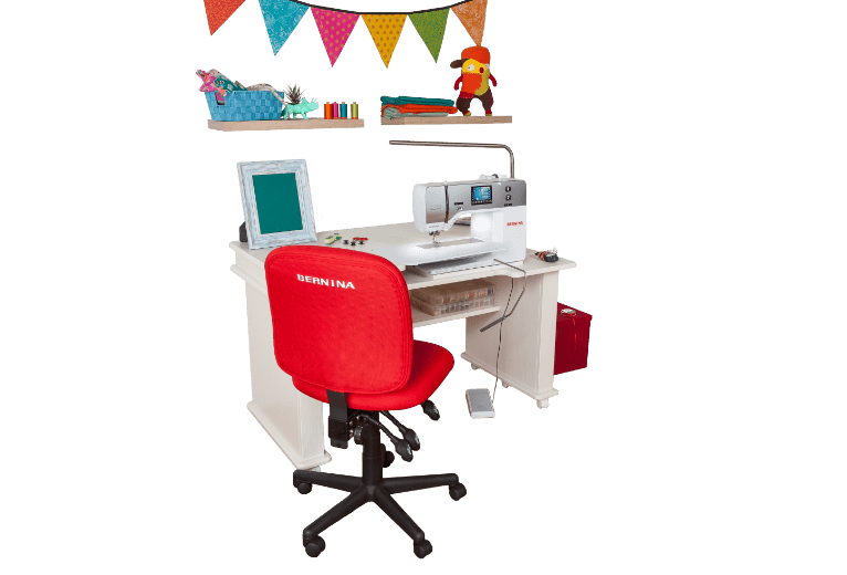 BERNINA Sewing Station by Koala   Ergonomic height    Large surface area to manage bigger projects    Ample storage for sewing notions    Designed for the New 5 and 7 Series    Available in teak or white