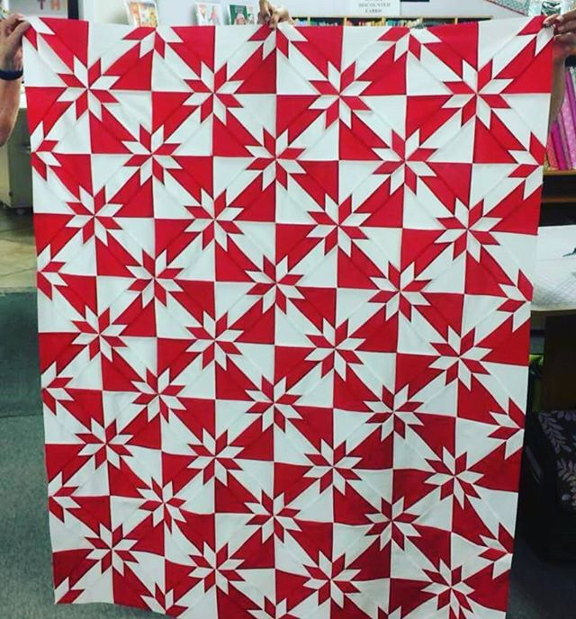 We have some of the most talented customers - this beautiful quilt was pieced by Ashley using the @accuquilt Hunter's Star die. Isn't this just lovely? With the ease of Accuquilt,  the cutting was simple, fast and accurate.  #accuquilt #customerquilts #huntersstarblock