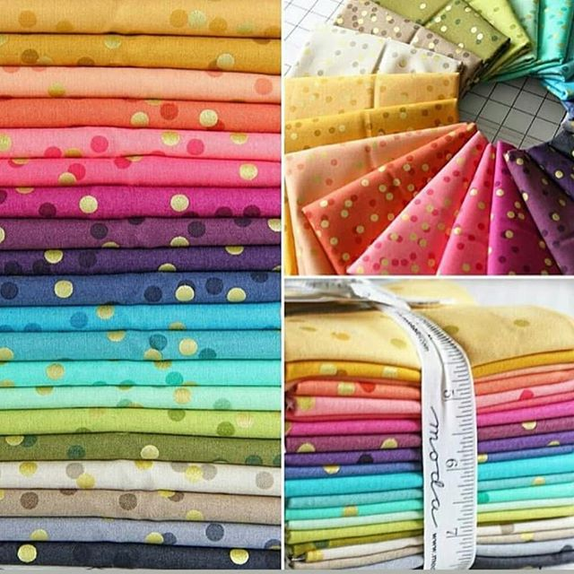 Have you seen the Ombre Confetti fabric in the shop? We have all 20  colors - each has such a great range of shades of the same color. You can make a quilt look like you used a variety of  fabrics when you only used a few!  This fun ombre fabric is all dressed up in its gold sparkles and color confetti and ready to play! What will you make with it? *Photo credit: Moda Fabrics  #ombreconfetti