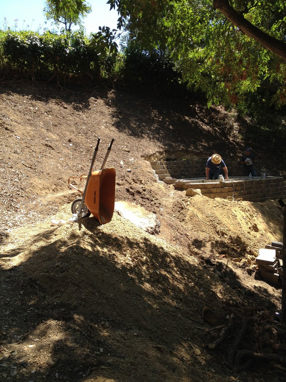 Turning a steep hillside slope into paths and useable space in Sherman Oaks.