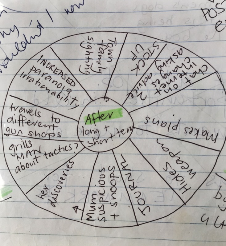This is an EVENT WHEEL. It's a very early part of the process and is generally a broad look at what could potentially happen during that section. So above shows the possible events that could occur after Damon's expulsion.