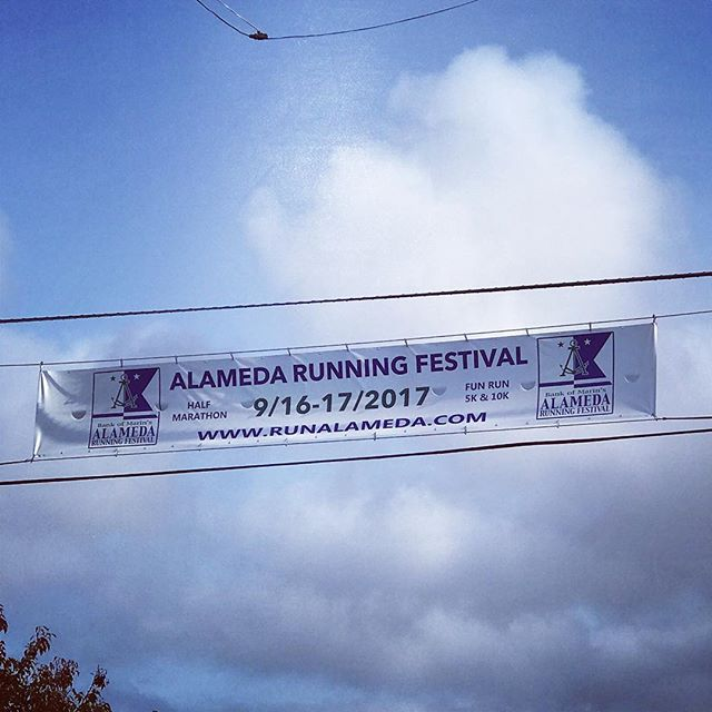 The banner for the next event is up. Time to earn those medals!🏅#runalameda #5k #10k #halfmarathon #alamedapoint #alamedarunningfestival #alameda