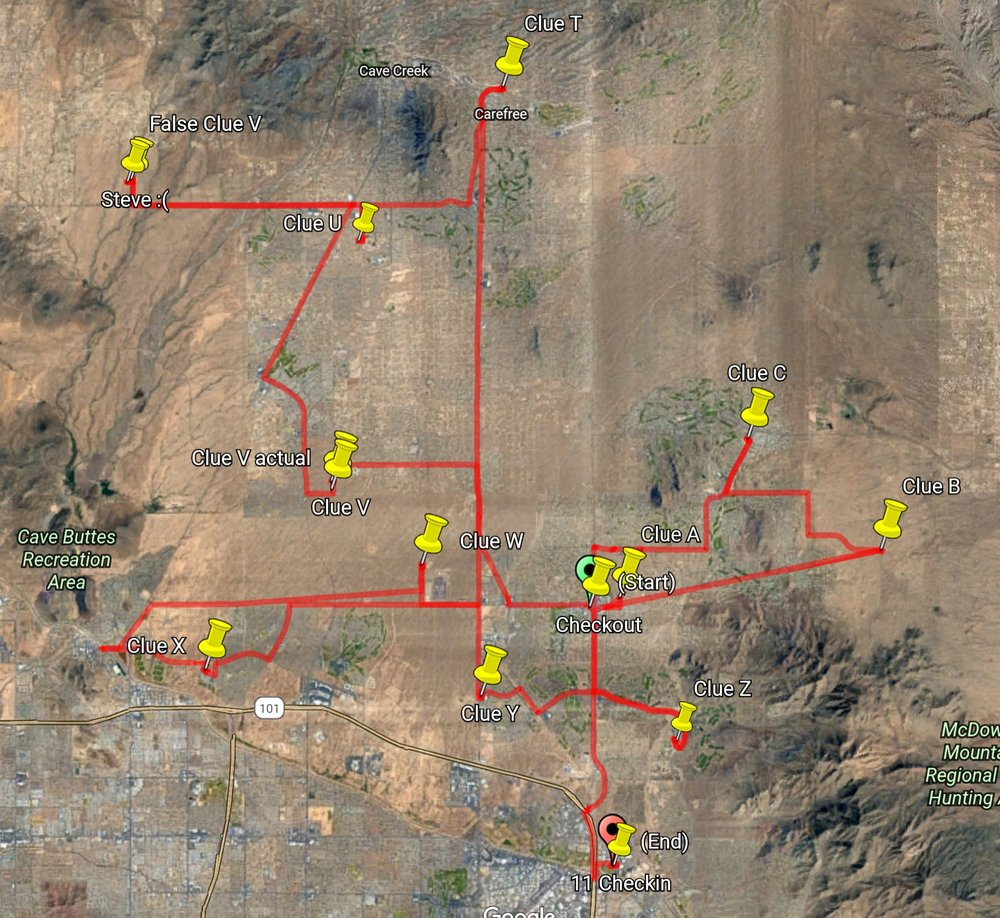 Just for fun... - This is the Hunt night route as recorded by one of our rookie teams.