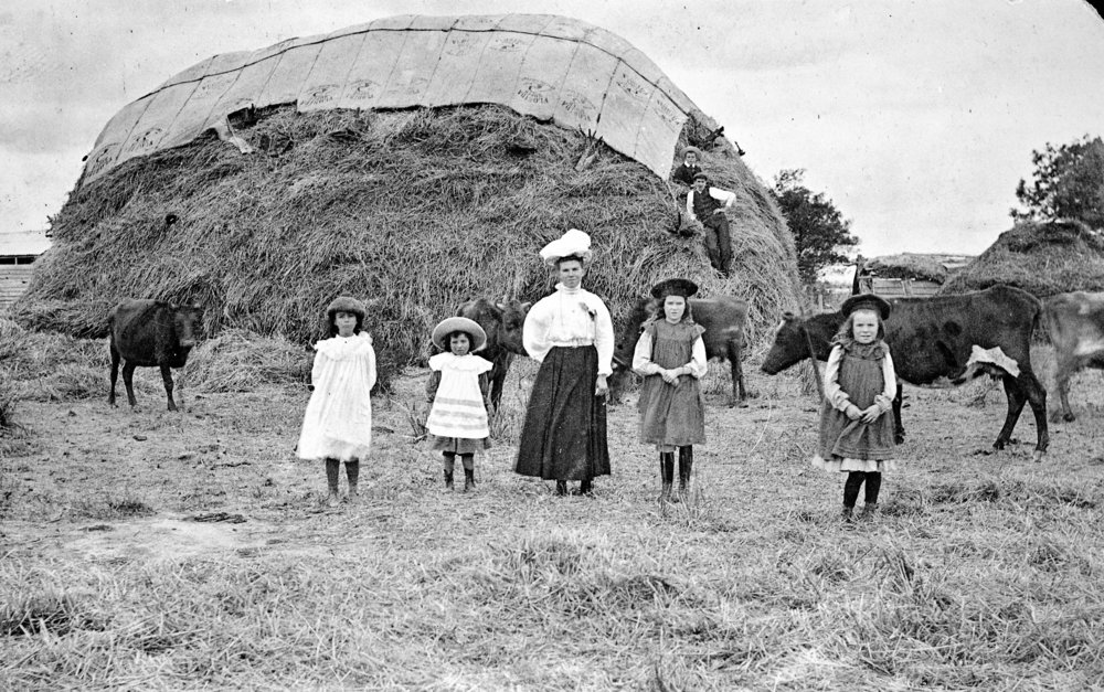 Title:  A Woman and Four Children in Front of a Haystack, Eldorado District, circa 1910: The Biggest Family Album in Australia.  Source:  Museums Victoria  Photographer:  Unknown