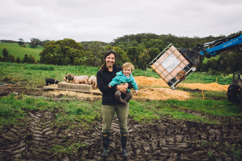 Title:   Amelia Bright and her daughter Hazel at Amber Creek Farm , Fish Creek, 2016.  Source:  Museums Victoria  Photographer:  Catherine Forge