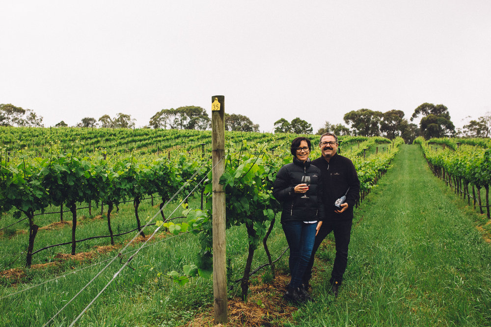 Lisa Sartori and her husband Marcus Satchell on their vineyard, Dirty Three Wines, Leongatha South, 2016, Source: Museums Victoria, Photographer: Catherine Forge