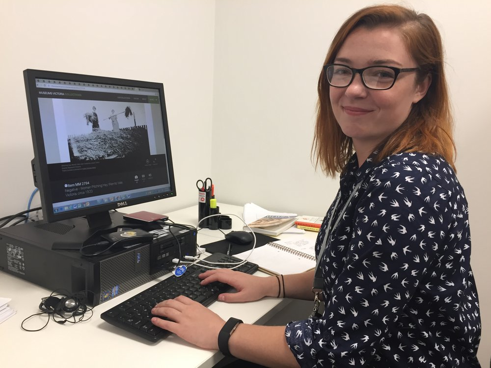 Ryna Ordynat working on her internship at Melbourne Museum, Carlton Gardens, 2017, Photograph: Liza Dale-Hallett