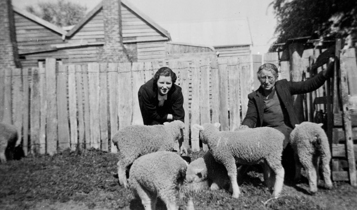 [Photograph 1]: Original keywords used to catalogue the photo; 'farm animals', 'fences', 'sheep'. Image attribrution: Two Women Feeding Lambs, Bahgallah, Victoria, 1939, Source: Museums Victoria, MM2742, Photographer: J. Richardson.