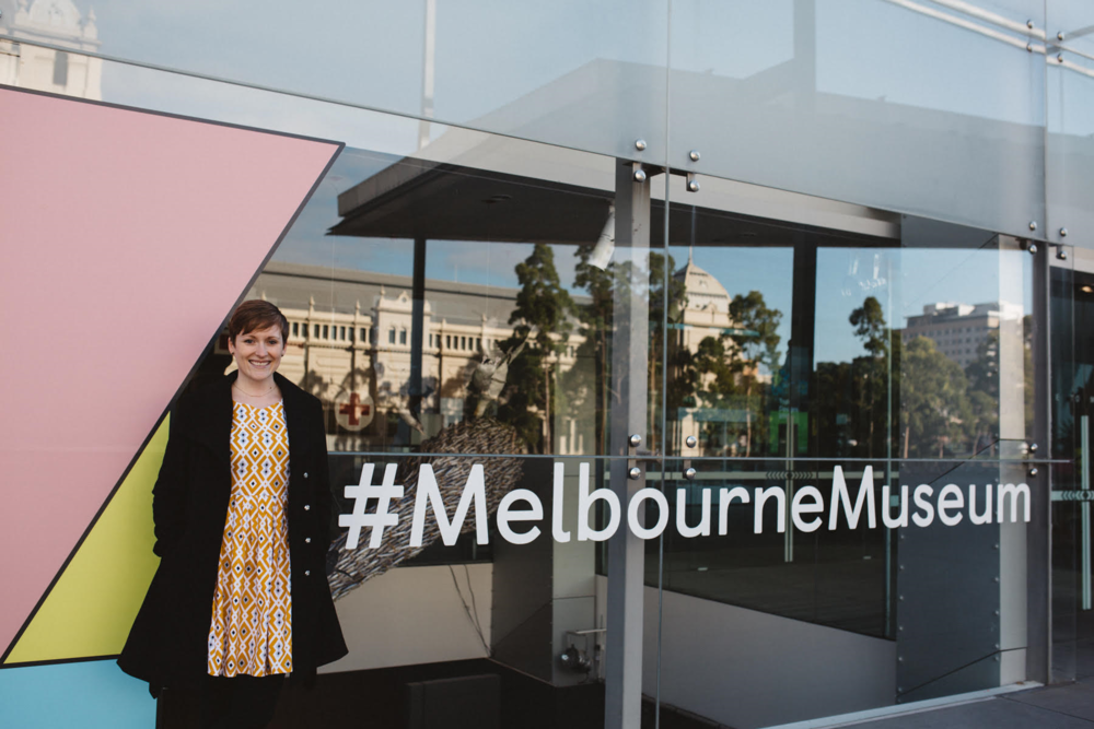 Ash Robertson standing at the front entrance to Melbourne Museum, Carlton Gardens, 2017, Photographer: Catherine Forge
