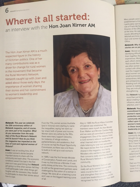 The Hon. Joan Kirner featured in RWN Network Newsletter