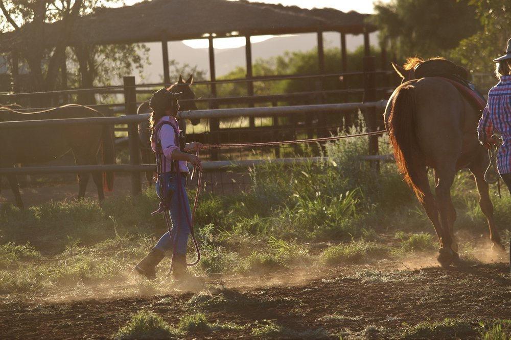 Emma's colleague Lauren Balfour from Yarrie Station in the Pilbara, Photograph: Emma Moss, supplied.