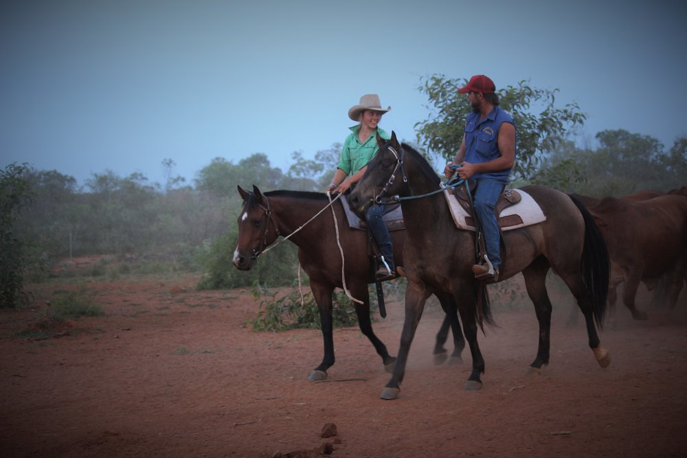 "Emma Moss with Kit Le Lievre at Nerrima Station, ""we were both on the lead of some bush cows"", Photograph: Emma Moss, supplied."