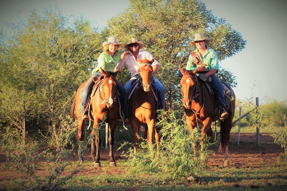 "Jacob Dunn, Kit Le Lievre and Emma Moss, working together at Pardoo Station, ""these guys taught me so much"", Photograph: Emma Moss, supplied."