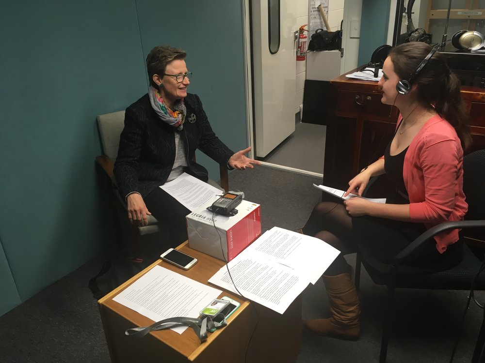 Liza Dale-Hallett (left) being interviewed by Kira Middleton (right), Melbourne Museum, July 2017, Source: Supplied, Catherine Forge