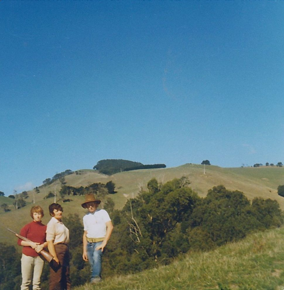 Liza Dale-Hallett (left) with mother Muriel Dale (centre) & brother Chas Dale (right), at their leased farm, Mt Worth, near Warragul, 1978, Source: Supplied, Liza Dale-Hallett