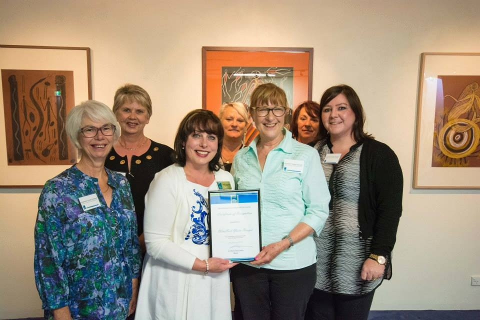 WinHort YR Australia Day award with Alison Brinson (left) and Ilse Matthews (right, holding award), 2015, image courtesy Yarra Ranges Council.