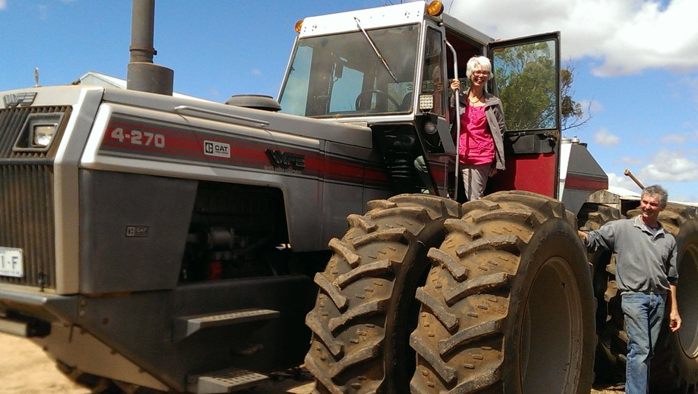 Alison Brinson on a tractor on a farm visit at the Hopetoun Women on Farms Gathering, 2016, Image: supplied.