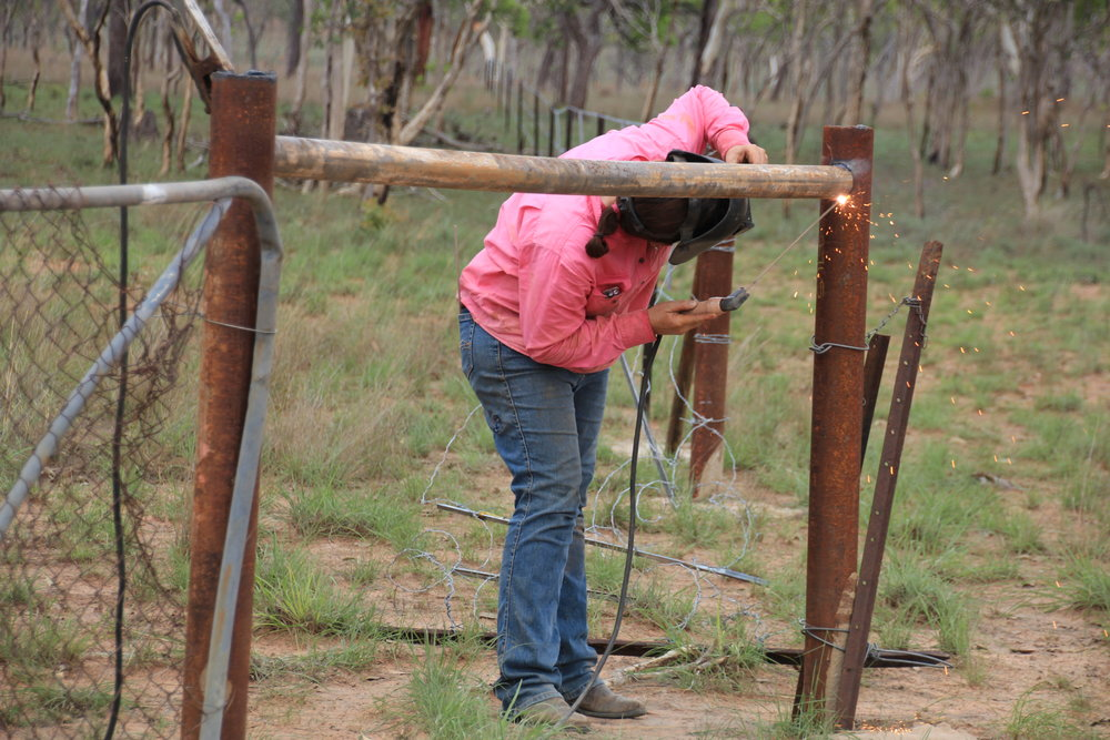 Lisa welding up end stays while fencing at Lorella Springs, image supplied.