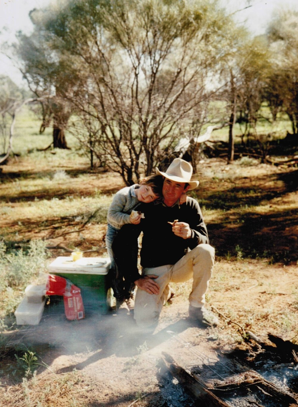Lisa having a 'Sunday Picnic' at Eurella with her father Chris Stanmore, c. 1988, image supplied.