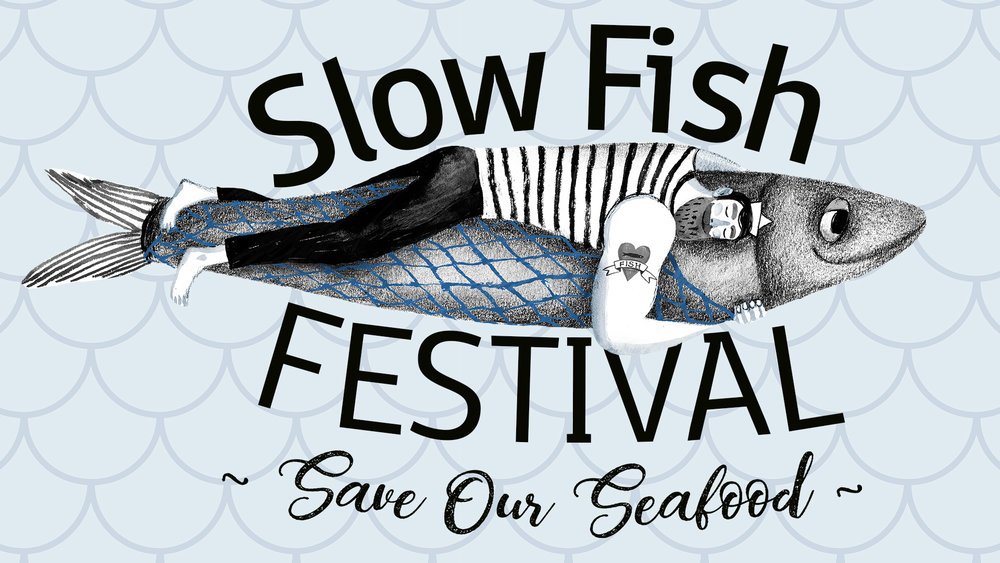 Promotional logo for the Inaugural Slow Fish Festival, 2018.