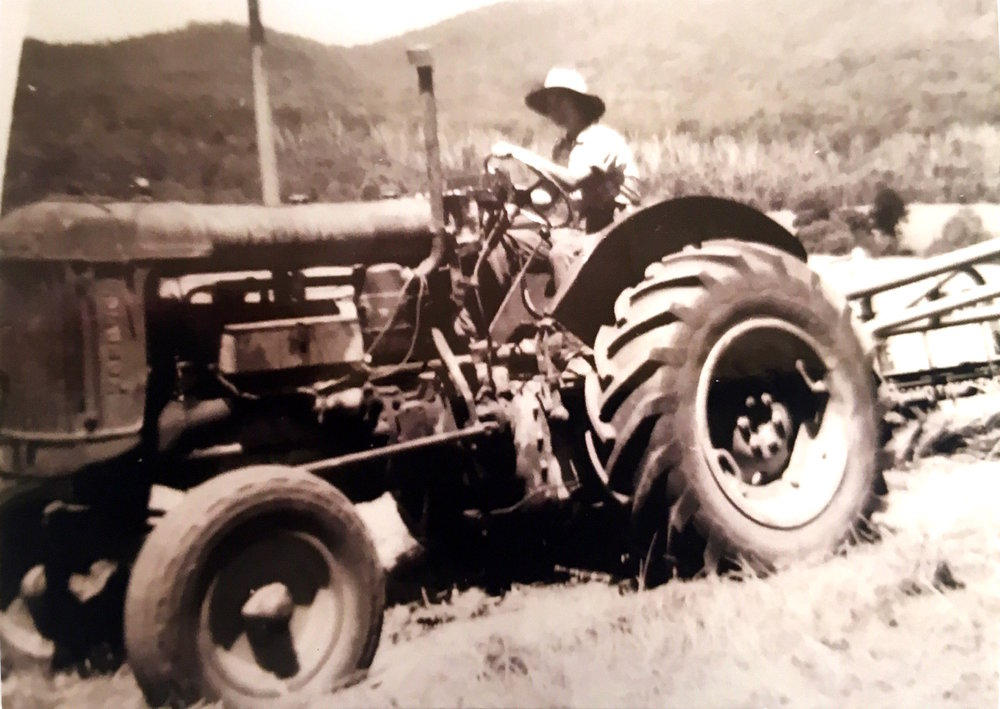 "Mira Galvin working in the fields, ""Coralya"", 1965. Photo: supplied by Aileen Spangaro."