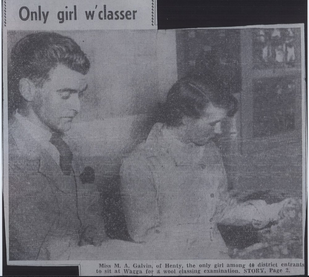 "Mira Galvin (right), ""The Observer"", 1953. Photo: supplied by Aileen Spangaro."