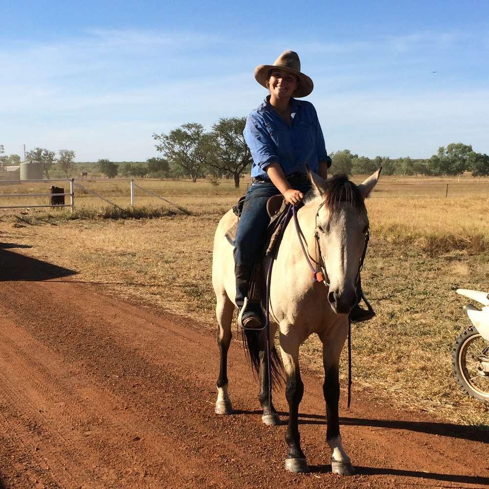 Laura Lewis on horseback at Riveren Station, Northern Territory, image supplied by Laura Lewis.