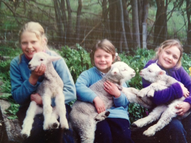 Laura as a child with her two sister on the family farm in Nerrin Nerrin, Victoria, image supplied by Laura Lewis.