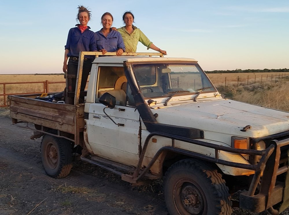 Laura with two of her female colleagues at Riveren Station, image supplied by Laura Lewis.