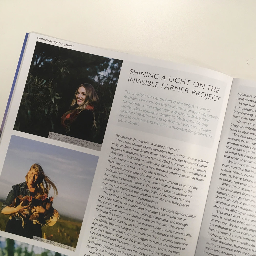 'Shining a Light on the Invisible Farmer Project', Vegetables Australia, Nov/Dec 2017.