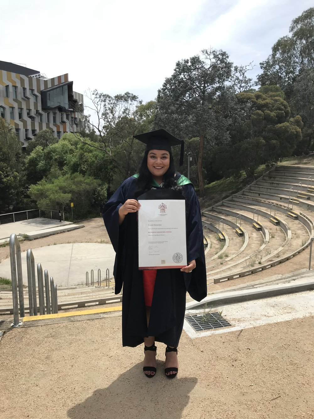 Rayali's graduation in December 2017, La Trobe University.